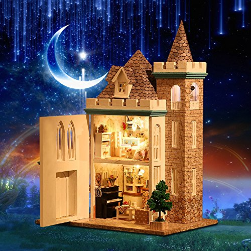 Beauty 's Castle DIY Moonlight城木製ドールハウスwithライト木製家モデル用のキットのパズルクリエイティブ誕生日ギフト B0786CQ344
