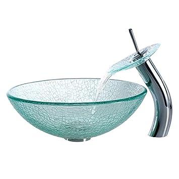 Waschbecken rund glas  Homelavafans Gehärtetes Glas Waschbecken mit Wasserfall Wasserhahn ...