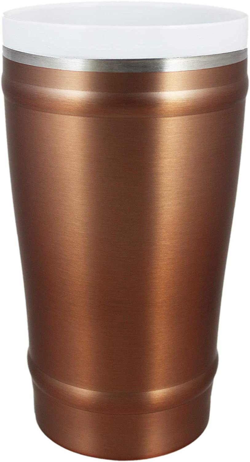CeramiSteel 16 ounce Beer Pint Glass with Lid, Ceramic Coated Stainless Steel Tumbler, Double Walled Vacuum Insulated, BPA Free, Copper Paint Finish