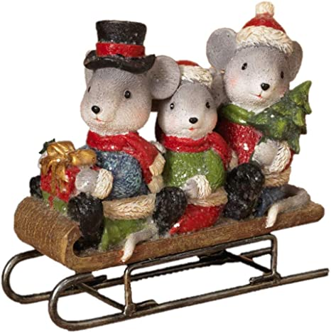 Jwm Sledding Mice Family Holiday Figurine Home Kitchen