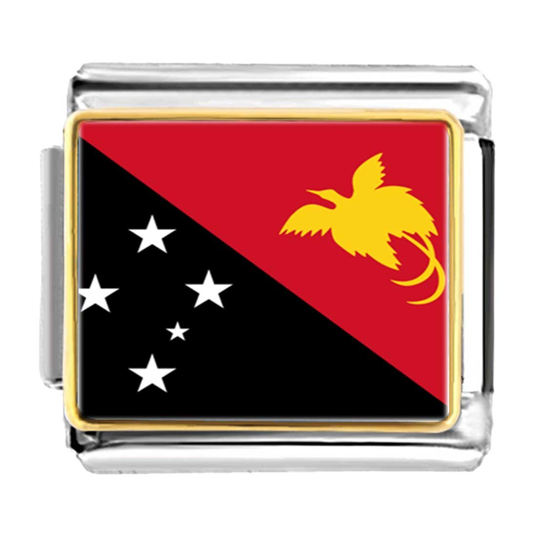 GiftJewelryShop Gold Plated Papua New Guinea flag Bracelet Link Photo Italian Charm