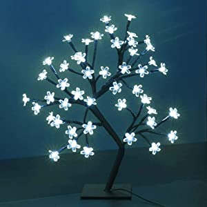 Bonsai Tree Light Artificial Tree Led Flower Cherry Blossom Light Adjustable Branches Battery Operated for Room Decoration and Gift