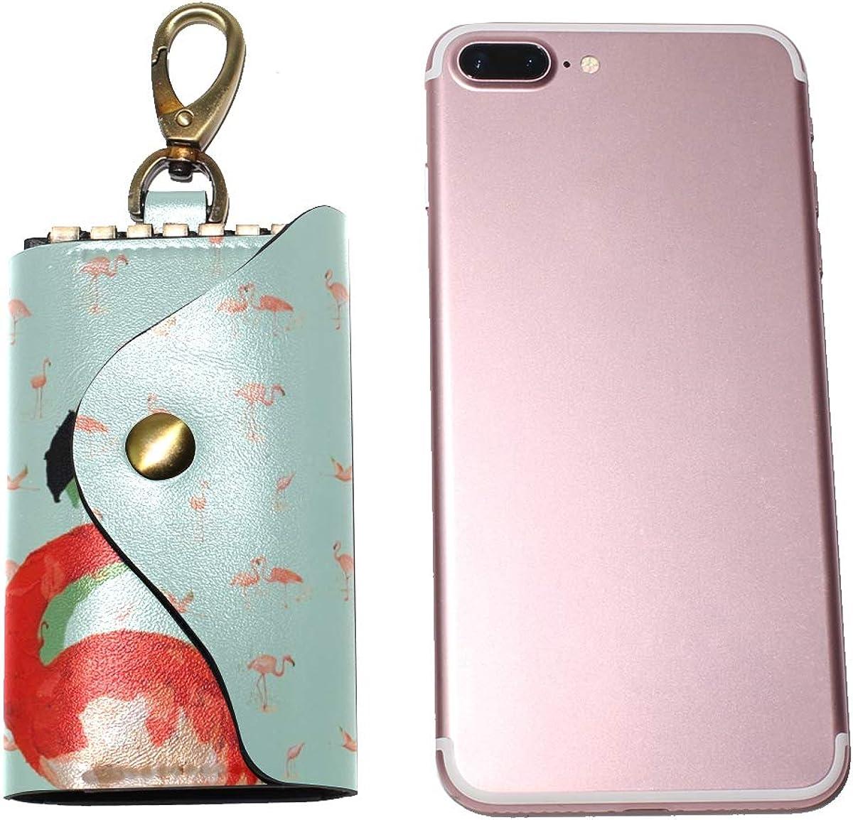KEAKIA Flamingos Leather Key Case Wallets Tri-fold Key Holder Keychains with 6 Hooks 2 Slot Snap Closure for Men Women