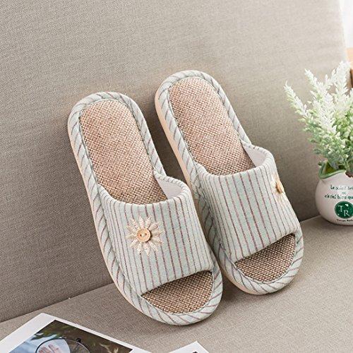 Enfiler Lavable Hommes Vert Couples Vdual Chaussures Sandale Bio Mules Ouvert antidérapant Transpiration d'intérieur Femme la Chaussons Familles Absorbe Lin Lin Clair à Bout twwXqYC