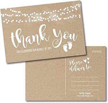Amazon Com 25 Girl Or Boy Rustic Baby Shower Thank You Note Card Bulk Set Blank Cute Kraft Gender Reveal Neutral Sprinkle Postcards No Envelope Needed For Party Gift Personalize Printable Cardstock Paper