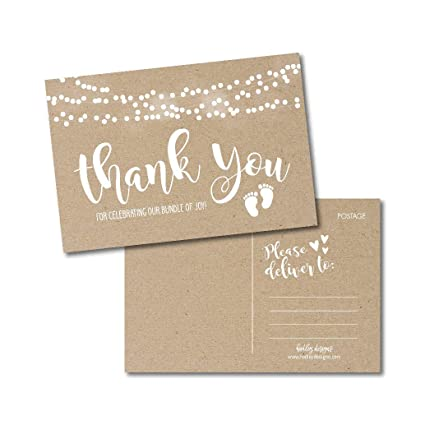 Amazon 25 Girl Or Boy Rustic Baby Shower Thank You Note Card