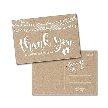 Amazon.com: Juego de 25 tarjetas rústicas de agradecimiento ...