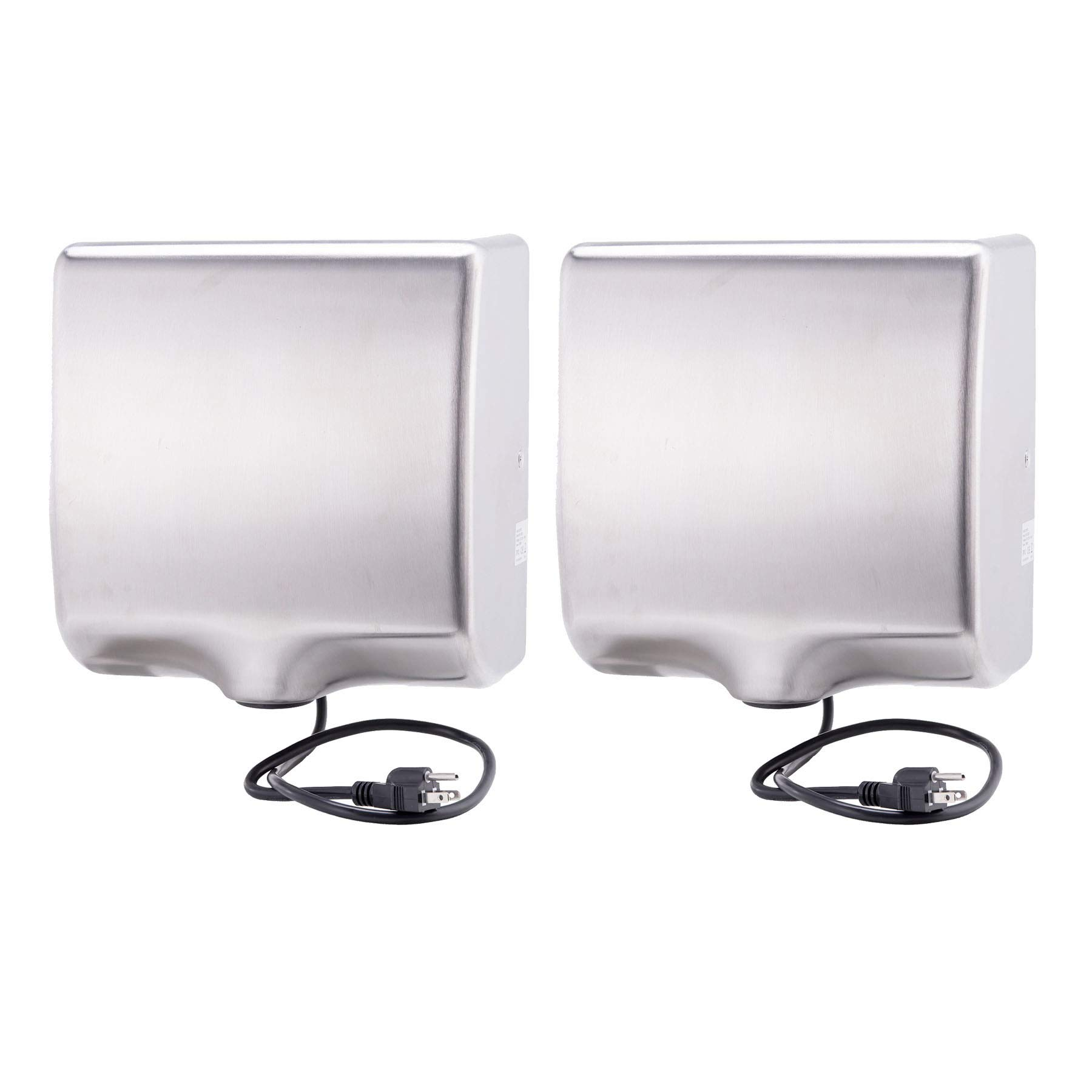 Commercial Automatic Air Hand Dryer High Speed Heavy Duty 1800w Matte Finished Automatic Hand Dryer Brushed Stainless Steel Shell, Set of 2