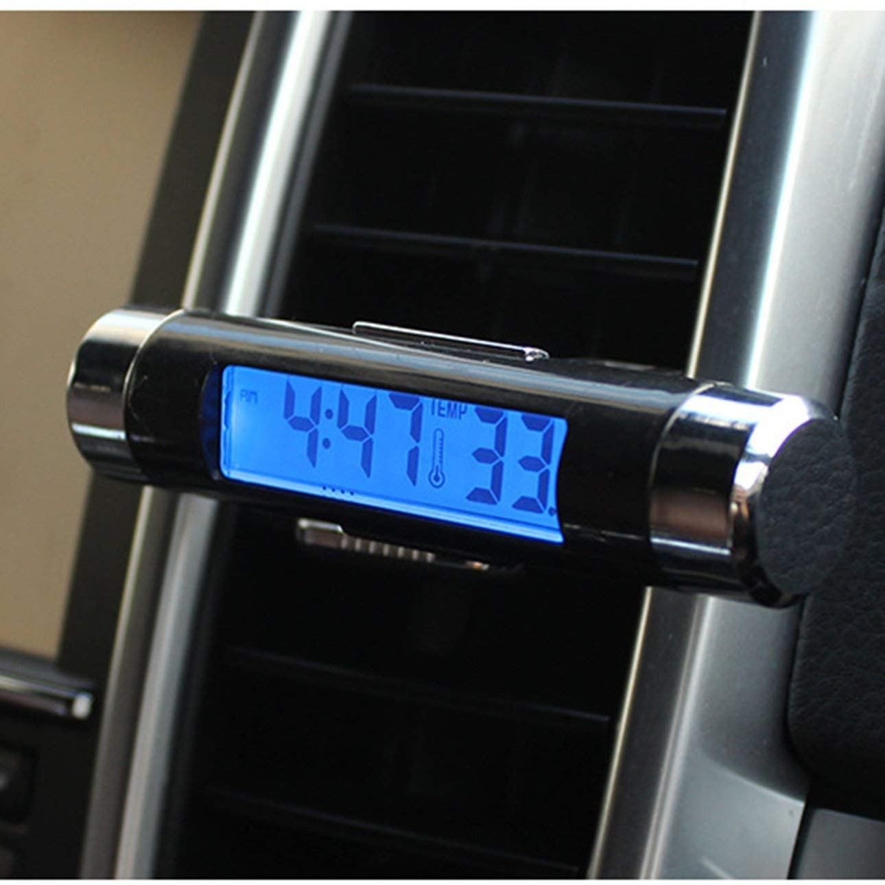 Black 2 in 1 Car Vehicle LCD Digital Display Automotive Thermometer Clock Portable Car Air Vent Outlet Clip-on LED Backlight