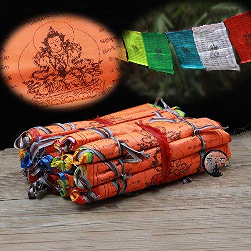 Buddhist Supplies Longevity Scriptures Wisdom Silk Prayer Flag Extending Life Religious Flags 21 Flags/strip 5 Meters Long Dollbling