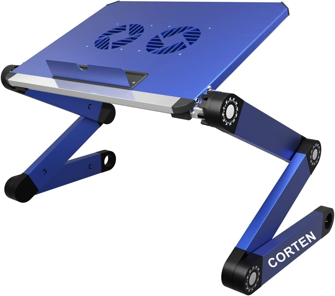 Ergonomic Portable Laptop Stand Table Desk Foldable Lap Tray for Bed Sofa Fully Adjustable Height and Angle Laptop Riser with USB Fans for Work from Home or Travel (Blue)