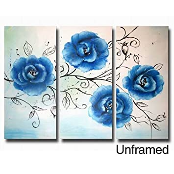 ARTLAND Modern 100 Hand Painted Flower Oil Painting On Canvas Quot Beautiful Blue Flowersquot