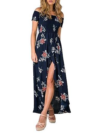 Yidarton Sommerkleid Damen Off Shoulder Blumen Maxikleid Abendkleid ...