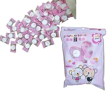 Comprimido Toallas - 50 pcs magia comprimido toalla de viaje 100% algodón Mini desechables comprimido portátil cara manopla, Package color pink, ...