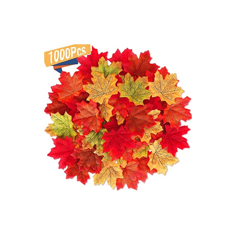 silk flower arrangements msdada 1000 pieces maple leaves artificial maple leaves autumn fall colored leaf garland for halloween party wedding decorations thanksgiving day decorations