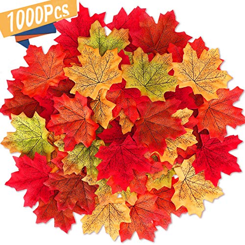 MSDADA 1000 Pieces Maple Leaves Artificial Maple Leaves Autumn Fall Colored Leaf Garland for Halloween Party Wedding Decorations Thanksgiving Day Decorations
