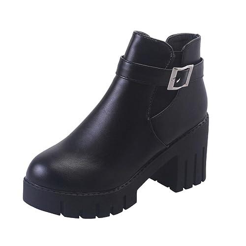 Zapatos de mujer Botines Zapatos de mujer tacones altos Mujer Ankle Zapatos Botas falsas para mujer Hebilla del cinturón Plataforma Talón cuadrado Negro ...