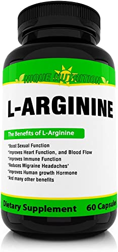 Nique Nutrition Premium L-Arginine Dietary Supplement for Increased Metabolism, to Increase Energy Levels and Improved Workout Performance – 60 Veggie Capsules