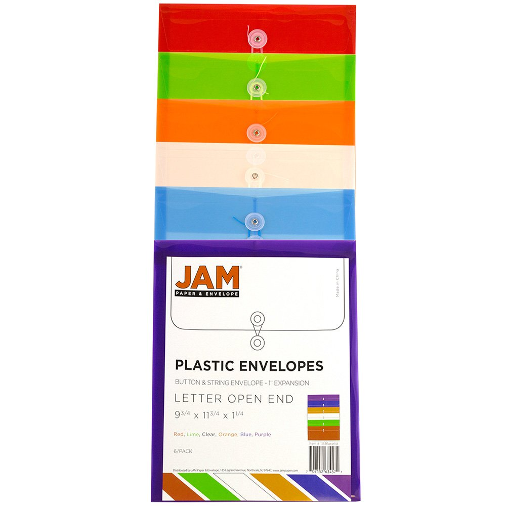JAM PAPER Plastic Envelopes with Button & String Tie Closure - Letter Open End - 9 3/4 x 11 3/4 - Assorted Colors - 6/Pack by JAM Paper (Image #3)