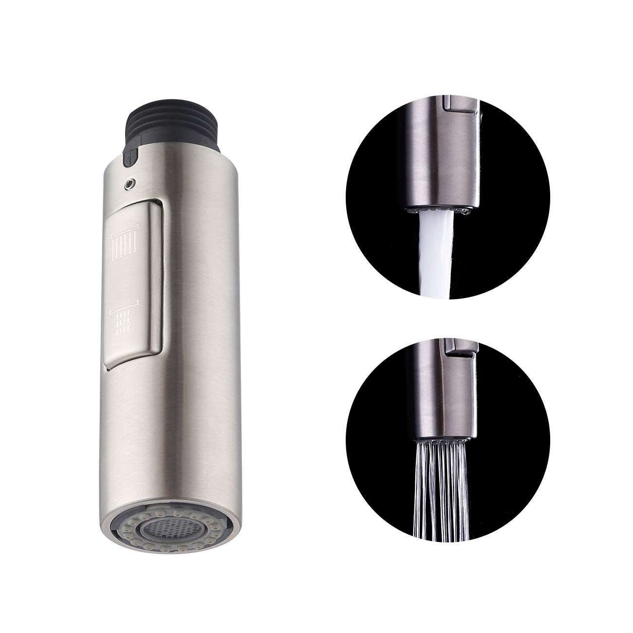 KES Kitchen Sink Faucet Sprayer Head Replacement SUS304 Stainless Steel 2-Functions Pull Out Spray Head Brushed Finish, PFS200-BS by KES