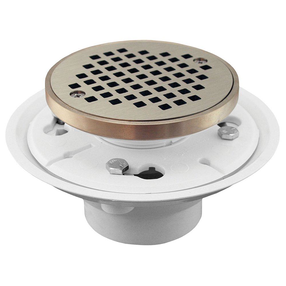 Jones Stephens, JS 4'' PVC Shower Drain/Floor Drain with Nickel Bronze Cast Round Strainer with Ring - D50131