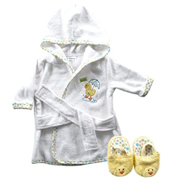 Discontinued by Manufacturer Yellow Luvable Friends Woven Terry Baby Bath Robe with Slippers