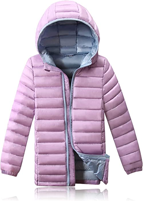 418b0457cc71 Amazon.com  90% White Duck Down Unisex Kids Coat Hooded Patchwork ...
