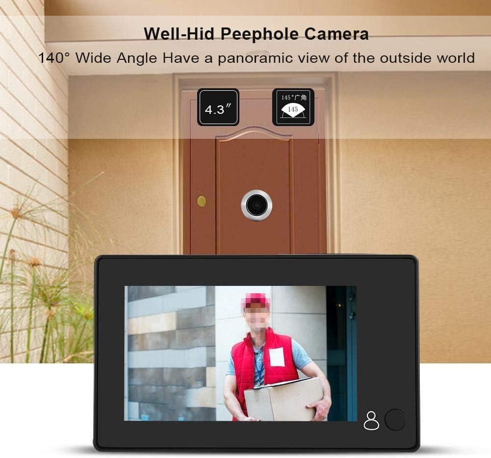 Lazmin Mirilla de Video LCD en Color TFT de 4.3 145 /° Gran Angular Smart HD Visor de Puerta C/ámara Soporte Foto