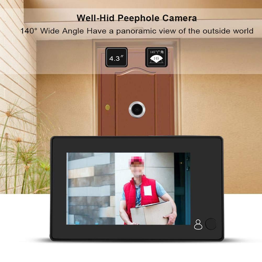 Visor de Mirilla de Puerta Digital Inteligente HD 1MP LCD con Gran Angular de 140 /° Alimentado por bater/ía o Banco de energ/ía para el hogar Garsent Timbre de Video Digital de 4.3