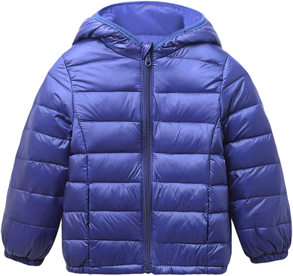 Baby Boys Girls Hoodie Coats Autumn Winter Warm Thicken Down Jacket Outwear Solid Zipper Hooded Snowsuit Infant Toddler Kids Long Sleeve Pullover Windproof Windbreaker Clothes Tops 3-7 Years