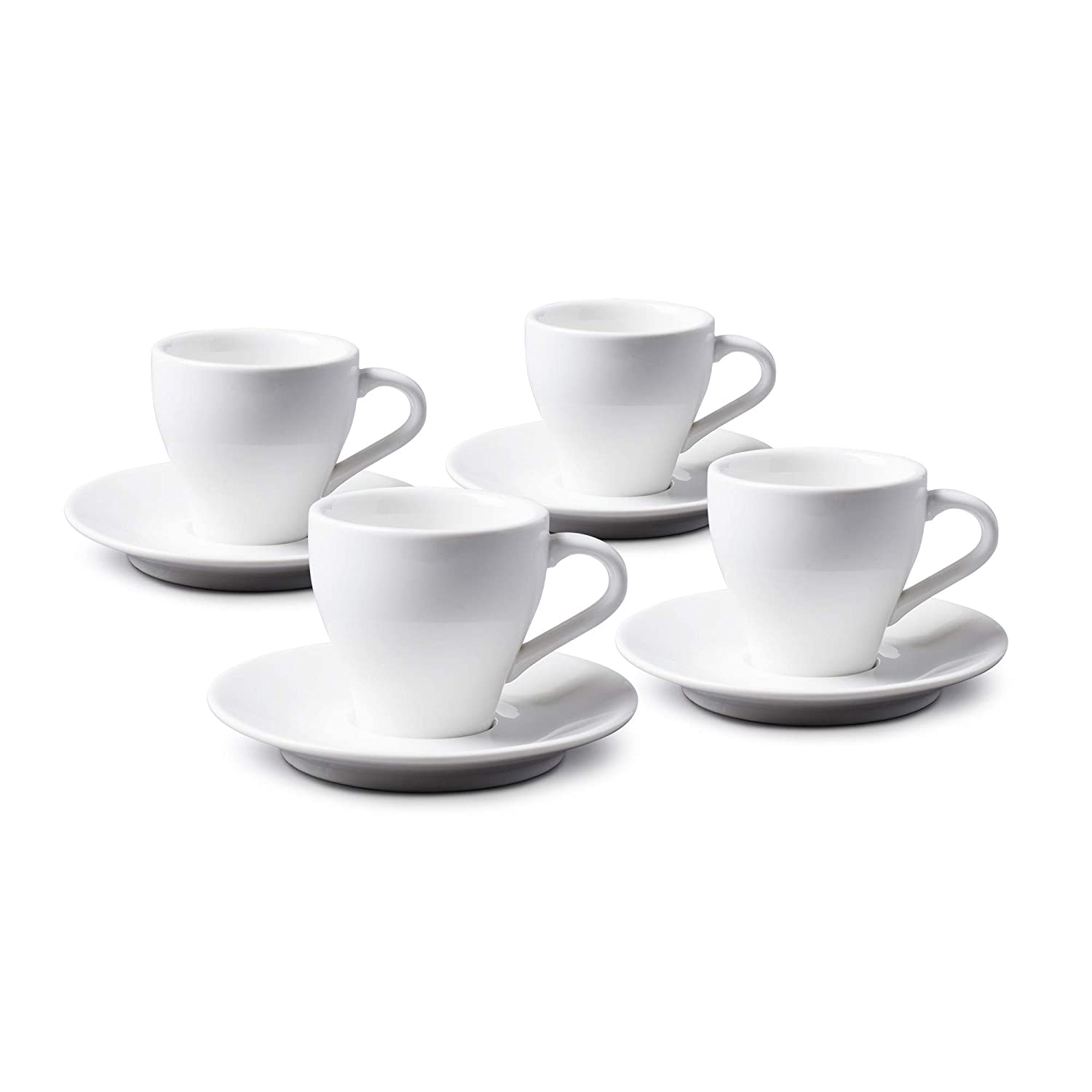 WM Bartleet /& Sons 1750 TSET88 Traditional Set of 4 Porcelain Espresso//Doppio Cup and Saucer 80ml White