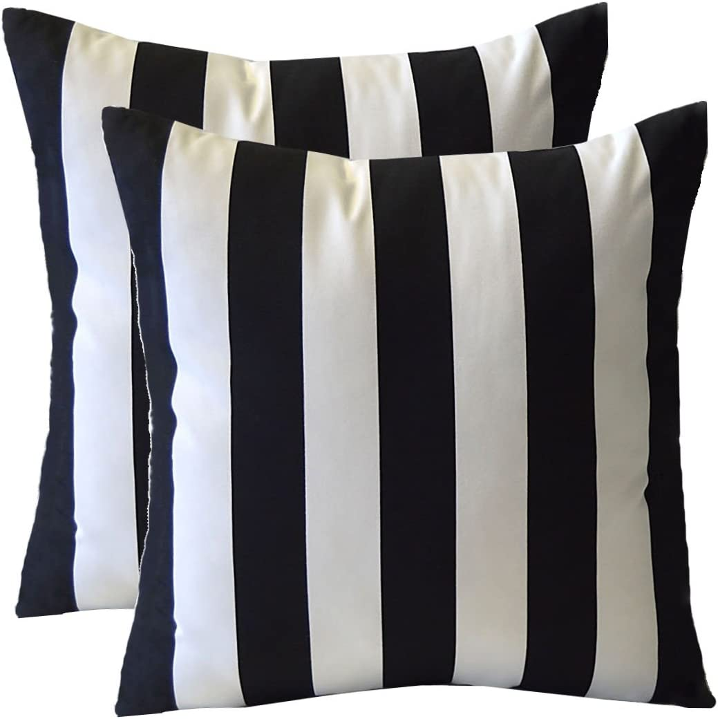 20 x 20 Resort Spa Home Decor Set of 4 Choose Size Black and White Stripe Fabric /& Black and White Aztec Geometric Fabric Indoor//Outdoor Square Decorative Throw//Toss Pillows