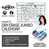 RAPICCA Magnetic Receptive Dry Erase Wall Calendar,Huge 24''×36'' Size,Large Month Whiteboard,Easy Erase,Perfect for Office/School/Home,6 Magnetic Strips, Pen Organizer,1 Eraser Included