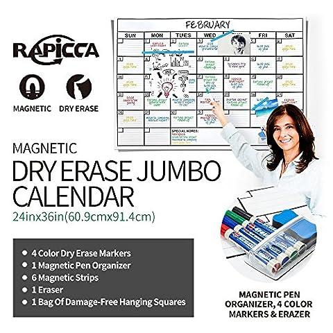 RAPICCA Magnetic Receptive Dry Erase Wall Calendar,Huge 24