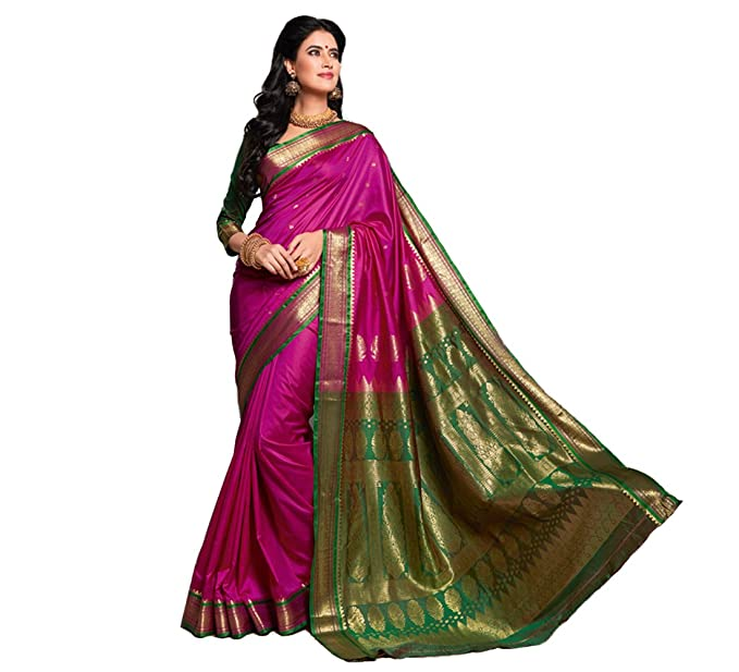 546ac2c933 Craftsvilla Silk Saree with Blouse Piece (Sania Jacd_Pink_Pink_Free Size):  Amazon.in: Clothing & Accessories