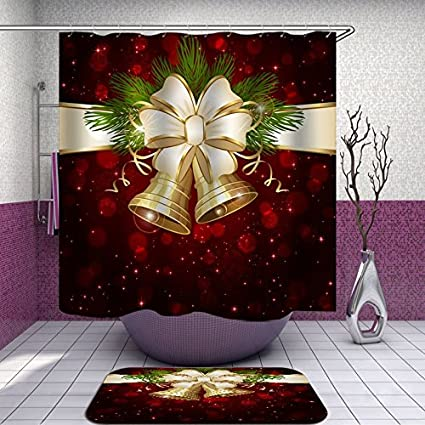 SARA NELL Christmas Shower Curtain Gold Bell Flower Red Snowflakes Waterproof Polyester Fabric