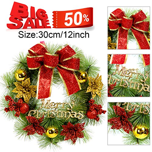 Pine Needle Christmas Wreath for Front Door, Holiday Door Wreath, with Gold Pearl Ball, Ornaments,Red Berries Garland (Needle Christmas Wreath)