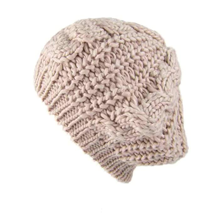 8f32f6b9654f6 2019 Fashion Women s Lady Beret Braided Baggy Beanie Crochet Warm Winter Hat  Ski Cap Wool Knitted