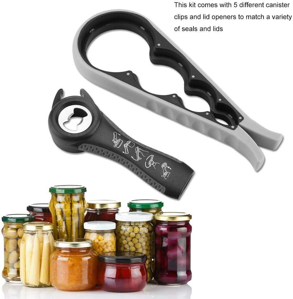 Jar Bottle Opener Kit Multifuncional Herramienta de Cocina para Jar Can Easy Grip abrebotellas paquete m/últiple socialme-eu gris oscuro