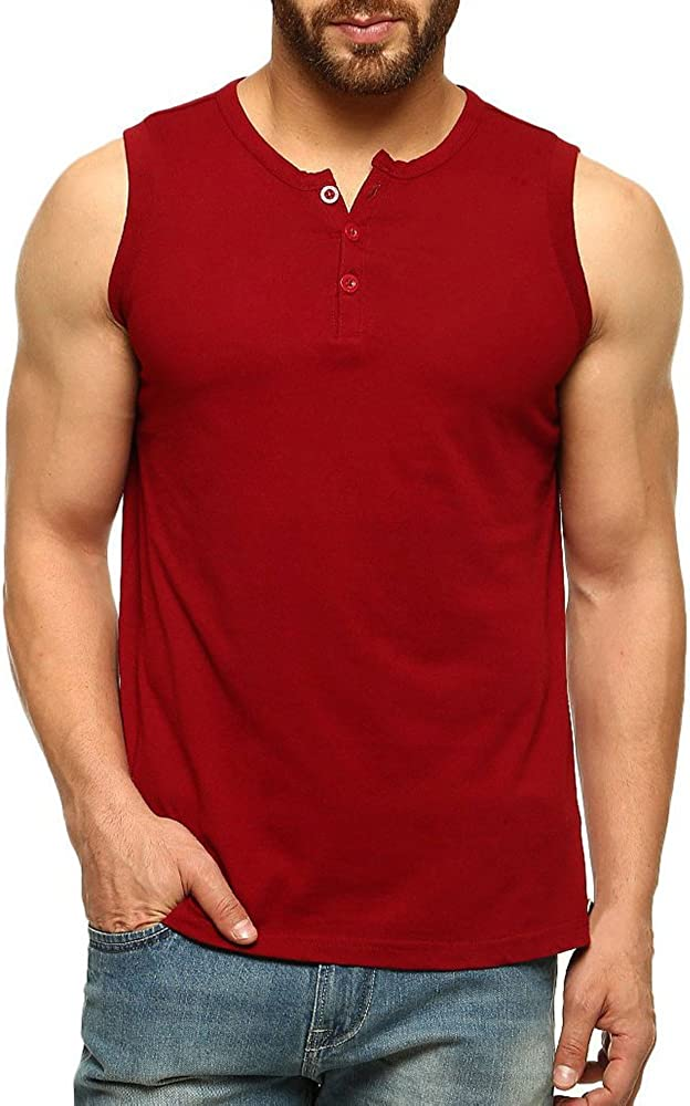 Karlywindow Mens Summer Casual Sleeveless Tank Tops Slim Fit Solid Henley Tank T-Shirts