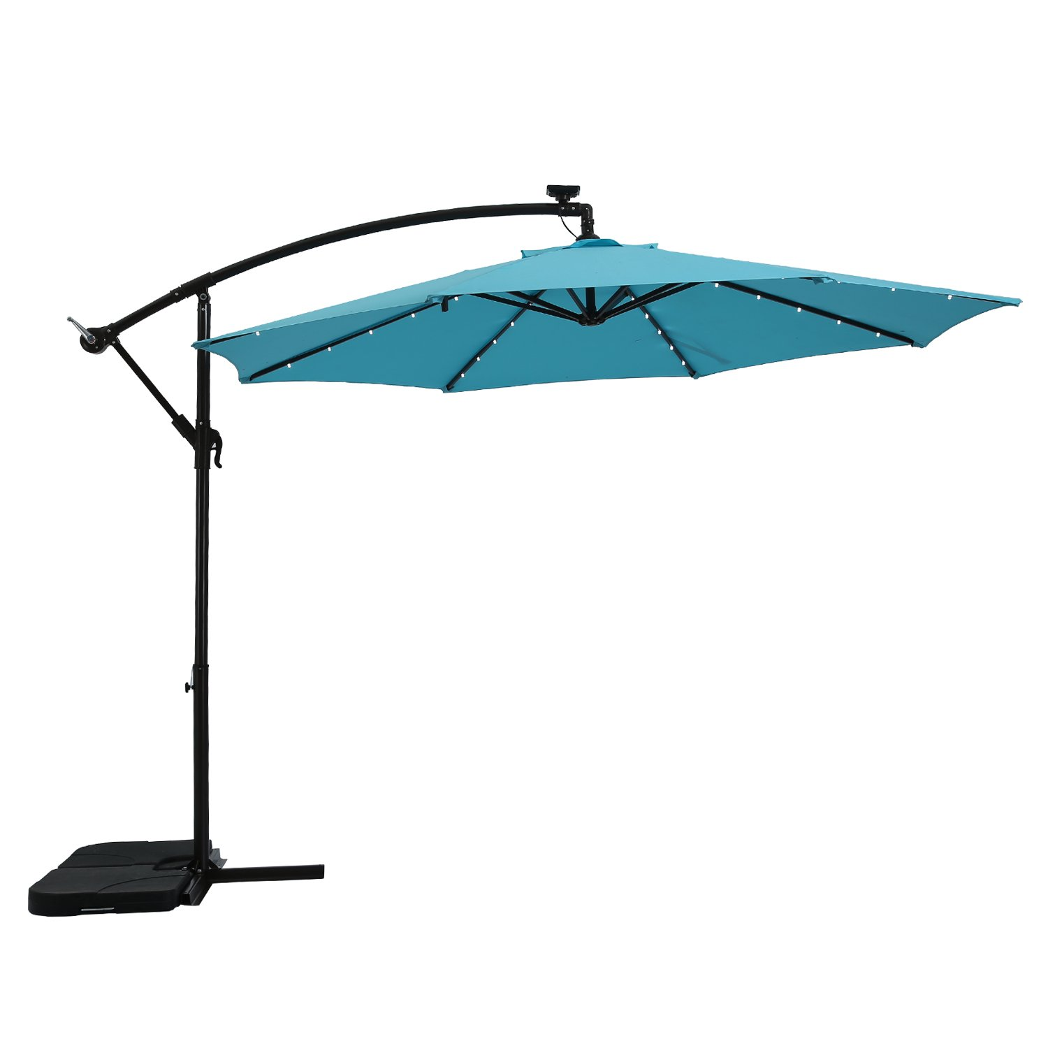 Paulla 10Ft LED Lighted Hanging Offset Umbrella Outdoor Cantilever Market Umbrella with Crank, 8 Ribs (Sky Blue)