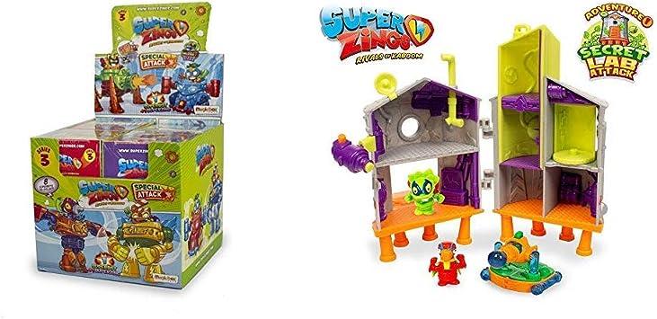 SUPERZINGS Serie 3 Caja con colección Completa de 8 Robots y 8 Figuras + Secret Lab Adventure 1, con 2 exclusivas Figuras: Amazon.es: Juguetes y juegos