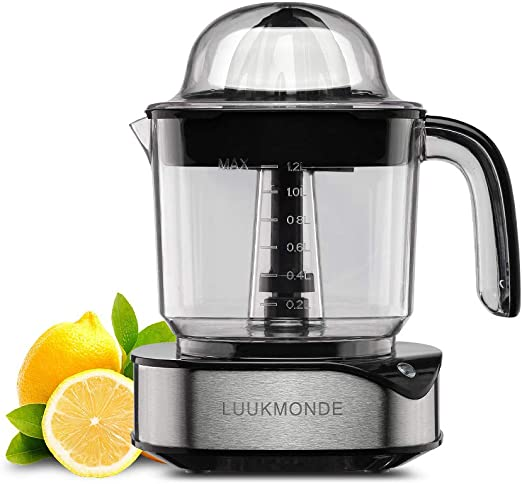 Electric Citrus Juicer 1.2 L Large Volume Pulp Control Stainless Steel Orange Squeezer with Two Cones Powerful Motor Lemon Juicer Electric for