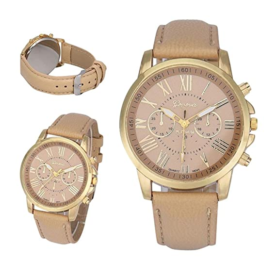 Womens Watch,Geneva Roman Numerals Bracelet Analog Quartz Business Wrist Watch Axchongery (Beige)