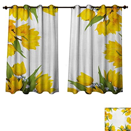 Amazon rupperttextile yellow flower blackout thermal backed rupperttextile yellow flower blackout thermal backed curtains for living room abstract frame yellow tulip and blue mightylinksfo
