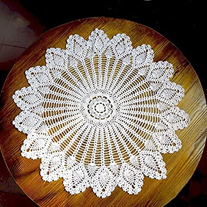 Amazon Com Handmade Crochet Coffee Table Cover White 90 Cm Round
