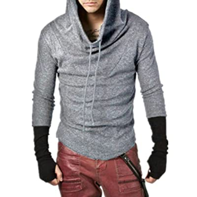 KLJR-Men Autumn Thumb Hole Contrast Pullover Hooded Sweatshirts Outwear