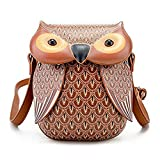 3D Owl Design Leather Crossbody Shoulder Bag Adjustable Messenger bag for Women Teen Girls (#2 Brown)