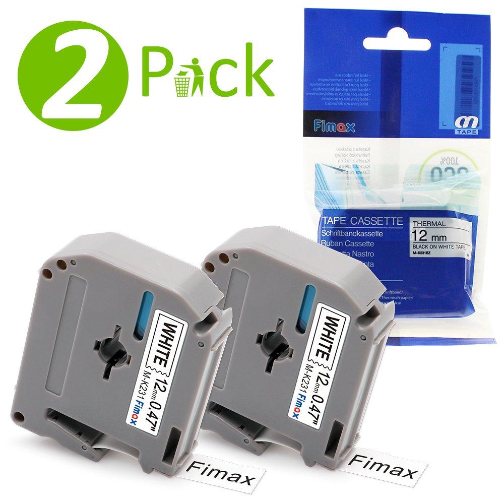 3PK M231 MK231 M-K231 Nastri per Etichette Compatibile Brother P-touch PT-65 PT-55 PT-80 PT-90, 12mm X 8m, Nera su Bianco Fimax