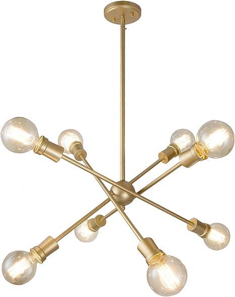 Amazon Com Ksana Brass Chandelier 8 Light Modern Brass Pendant Ceiling Light Fixture For Kitchen Island Dining Room Living Room Foyer Lighting Home Improvement